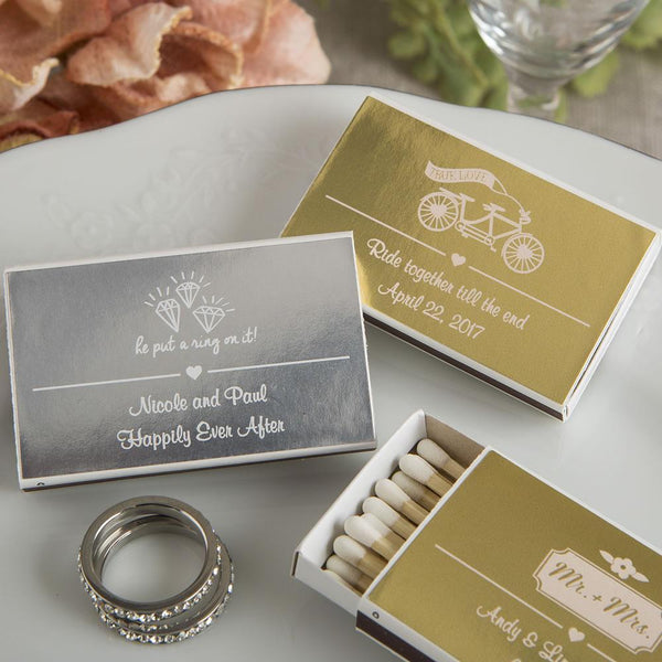 Personalized Metallics Collection Matchbox Favors (PACK OF 50)-Favors By Season-JadeMoghul Inc.