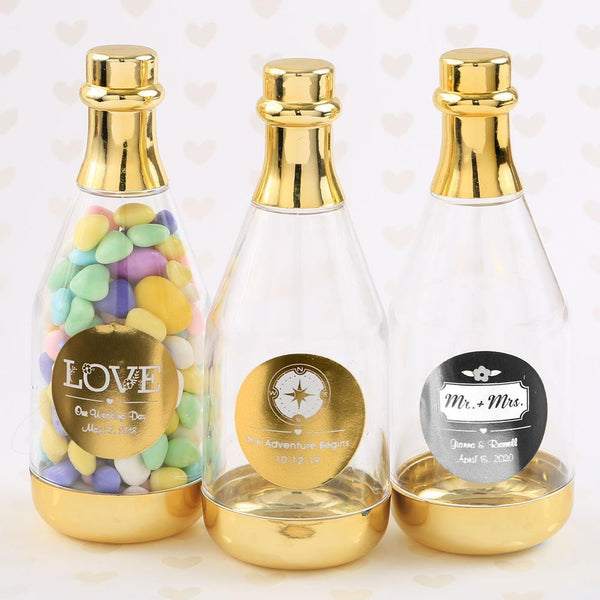 Personalized metallics gold accented clear champagne bottle container-Favors By Season-JadeMoghul Inc.