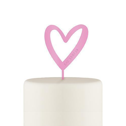 Personalized Mod Heart Acrylic Cake Topper - Dark Pink (Pack of 1)-Wedding Cake Toppers-JadeMoghul Inc.