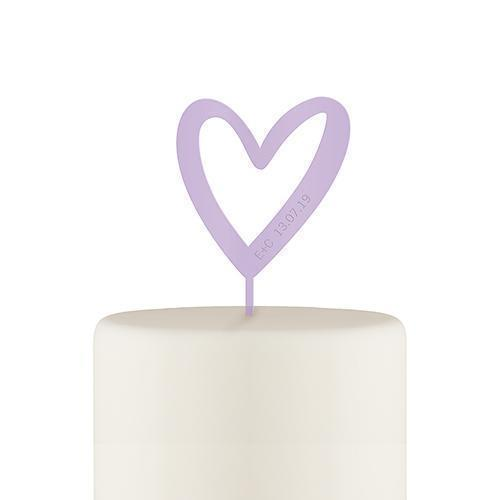 Personalized Mod Heart Acrylic Cake Topper - Lavender (Pack of 1)-Wedding Cake Toppers-JadeMoghul Inc.