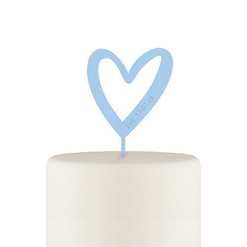 Personalized Mod Heart Acrylic Cake Topper - Pastel Blue (Pack of 1)-Wedding Cake Toppers-JadeMoghul Inc.