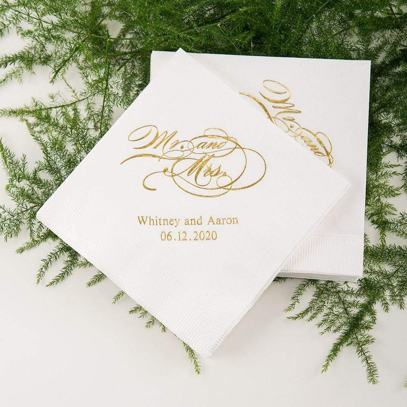 Personalized Paper Napkins Printed Napkins Dinner - Rectangular Fold Red (Pack of 80) Weddingstar