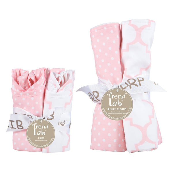 Pink Sky 8 Piece Bib and Burp Cloth Set-SKY PINK-JadeMoghul Inc.