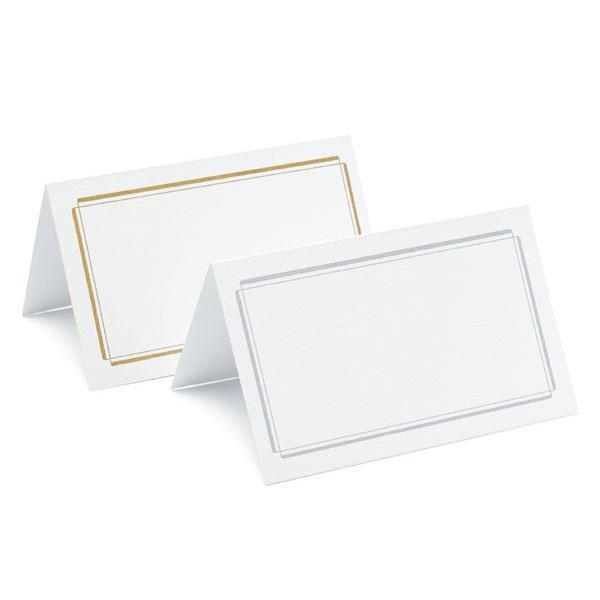 Plain & Double Border Place Cards Package of 50 Double Border Silver (Pack of 50)-Table Planning Accessories-JadeMoghul Inc.