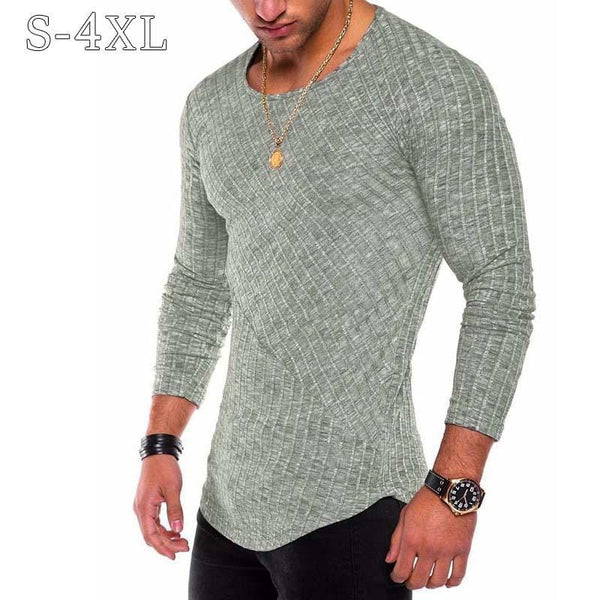 Plus Size S-4XL Slim Fit Sweater Men 2018 Spring Autumn Thin O-Neck Knitted Pullover Men Casual Solid Mens Sweaters Pull Homme-Blue-S-JadeMoghul Inc.