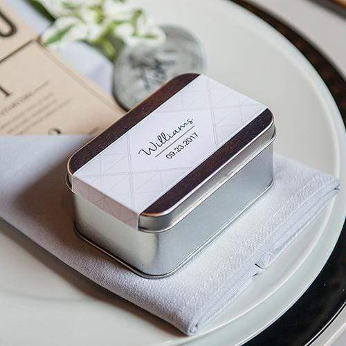 Popular Wedding Favors XOXO Personalized Tin Favor Boxes with Lids Silver Charcoal (Pack of 8) JM Weddings