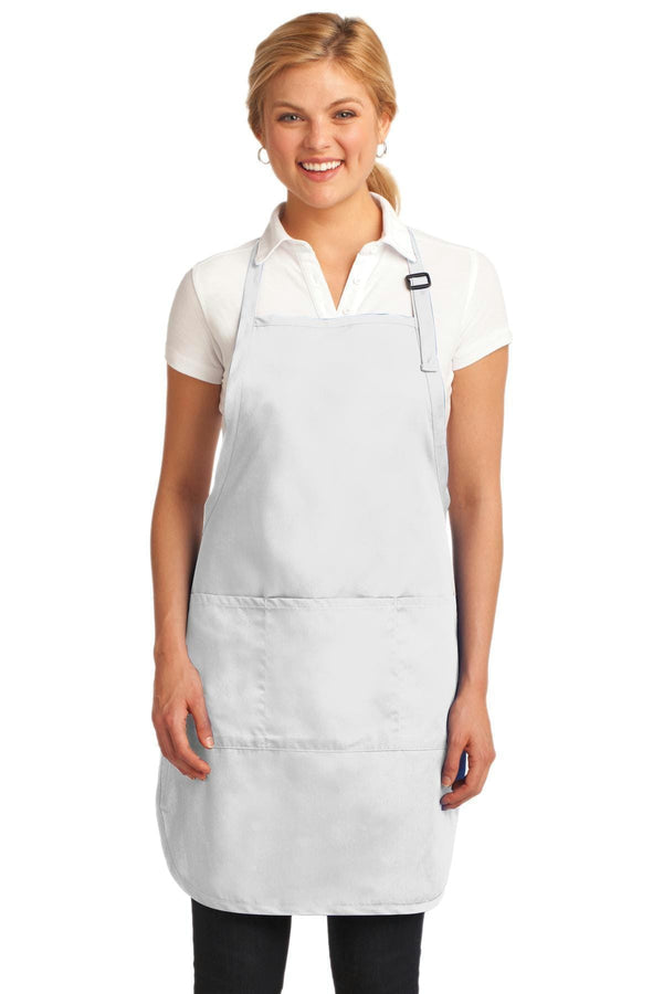 Port Authority Easy Care Full-Length Apron with Stain Release. A703-Workwear-White-OSFA-JadeMoghul Inc.