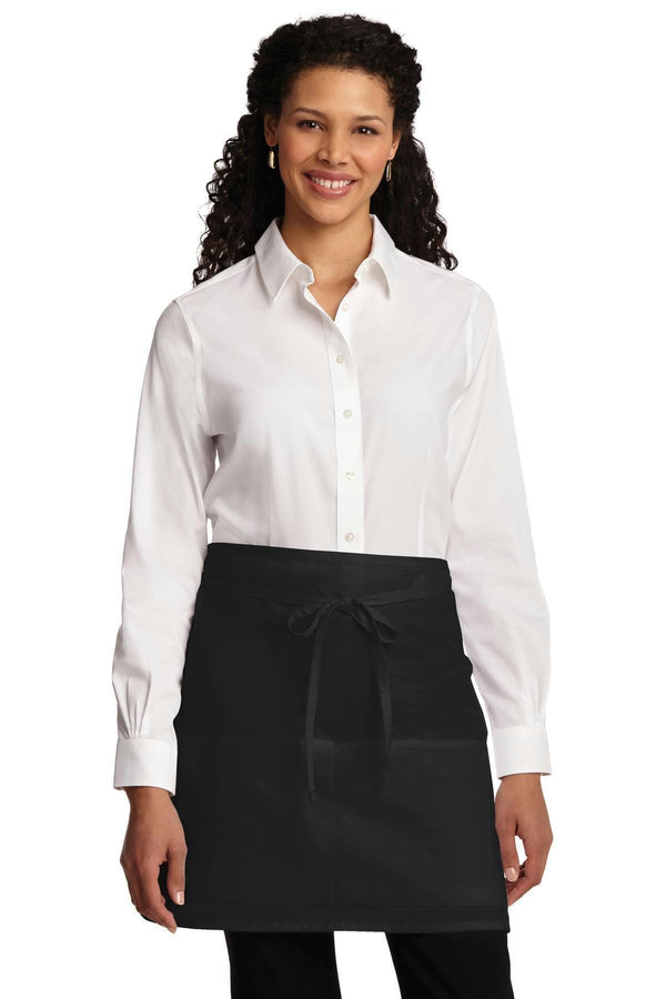 Port Authority Easy Care Half Bistro Apron with Stain Release. A706-Workwear-Black-OSFA-JadeMoghul Inc.