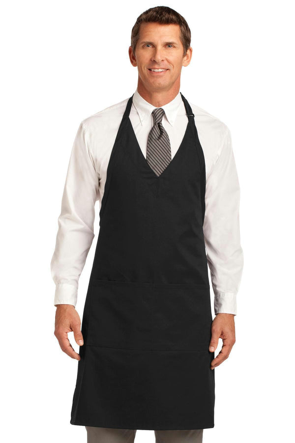 Port Authority Easy Care Tuxedo Apron with Stain Release. A704-Workwear-Black-OSFA-JadeMoghul Inc.