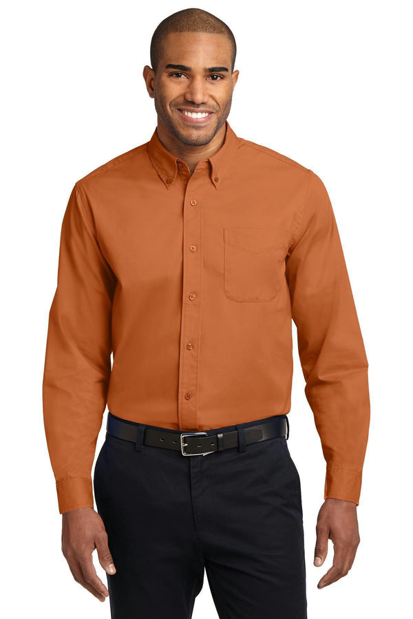 Port Authority Extended Size Long Sleeve Easy Care Shirt. S608ES-Woven Shirts-Texas Orange/Light Stone-10XL-JadeMoghul Inc.