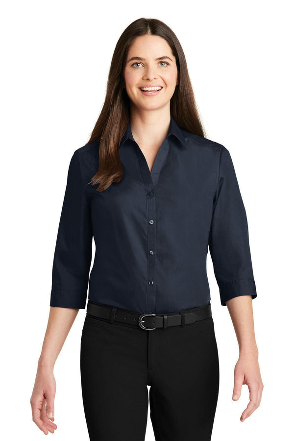 Port Authority Ladies 3/4-Sleeve Carefree Poplin Shirt. LW102-Woven Shirts-River Blue Navy-4XL-JadeMoghul Inc.