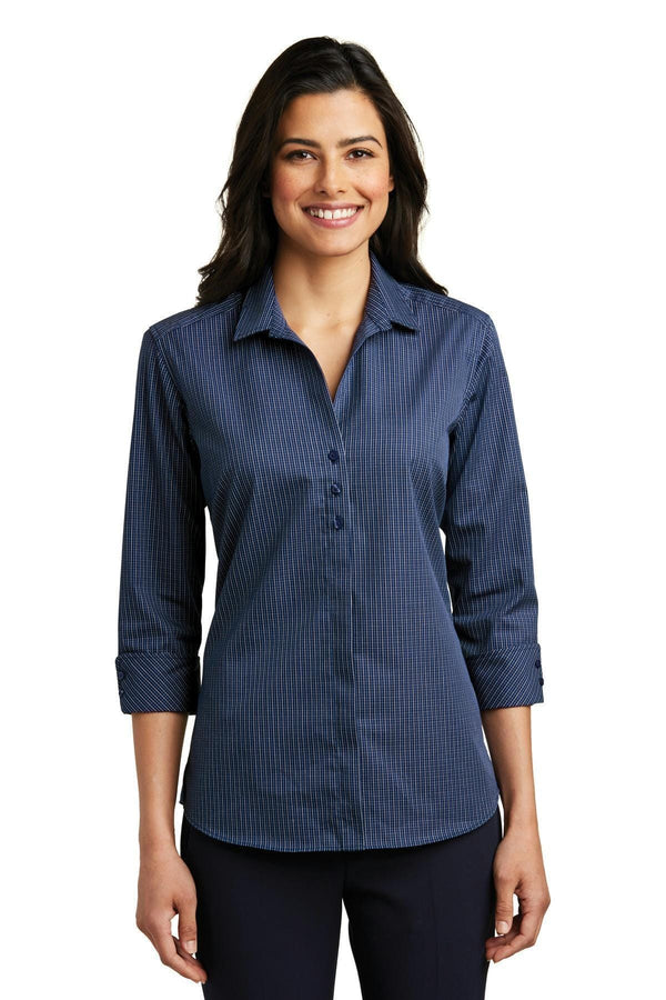 Port Authority Ladies 3/4-Sleeve Micro Tattersall Easy Care Shirt. LW643-Woven Shirts-Navy/ Heritage Blue-4XL-JadeMoghul Inc.