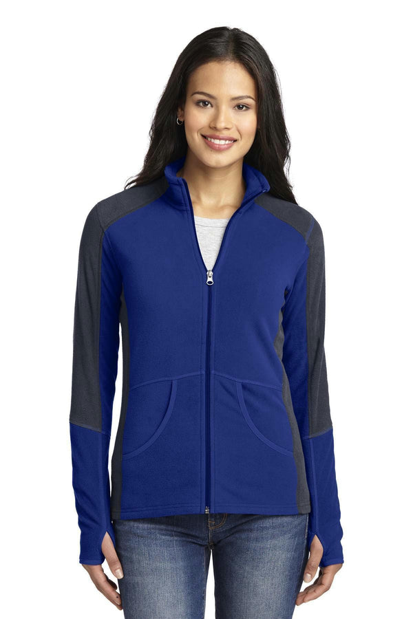 Port Authority Ladies Colorblock microFleece Jacket. L230-Ladies-Patriot Blue/ Battleship Grey-4XL-JadeMoghul Inc.