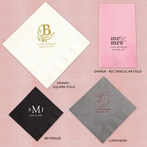 Printed Napkins Dinner - Rectangular Fold Red (Pack of 80)-Personalized Paper Napkins-JadeMoghul Inc.