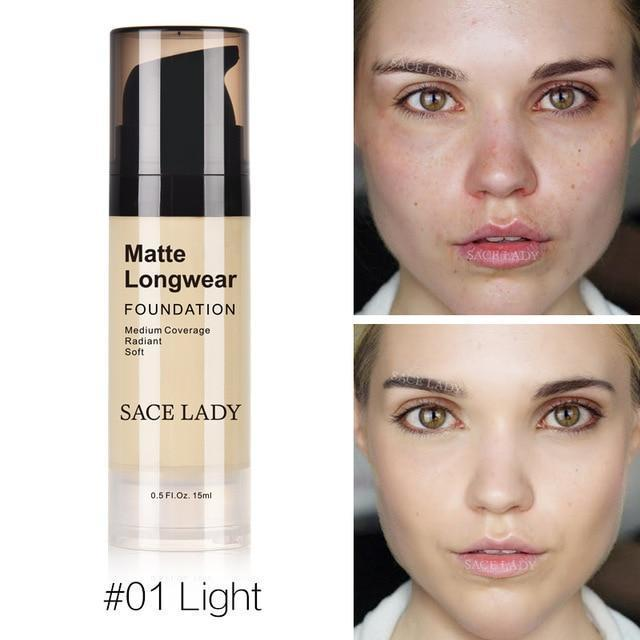Professional Face Matte Finish Liquid Make Up Concealer Foundation-01 Light-JadeMoghul Inc.