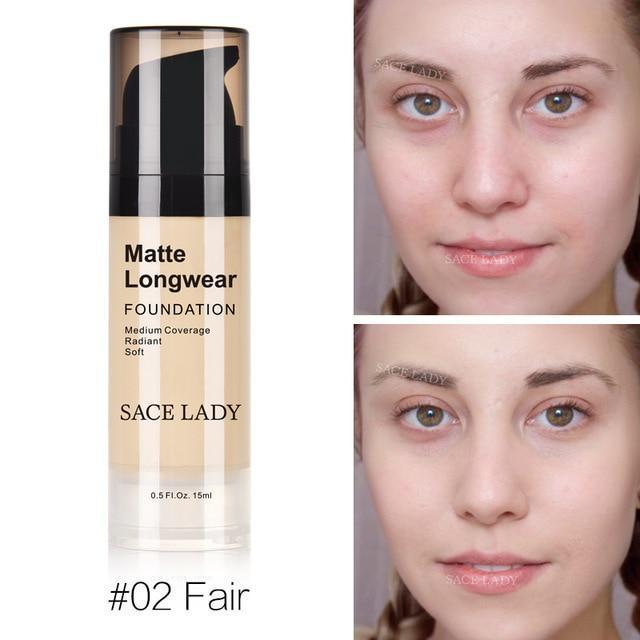 Professional Face Matte Finish Liquid Make Up Concealer Foundation-02 Fair-JadeMoghul Inc.