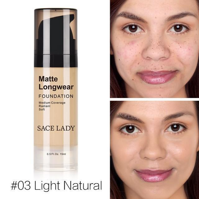 Professional Face Matte Finish Liquid Make Up Concealer Foundation-03 Light Natural-JadeMoghul Inc.