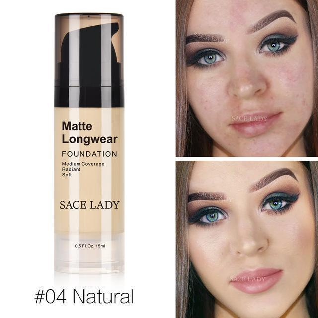 Professional Face Matte Finish Liquid Make Up Concealer Foundation-04 Natural-JadeMoghul Inc.