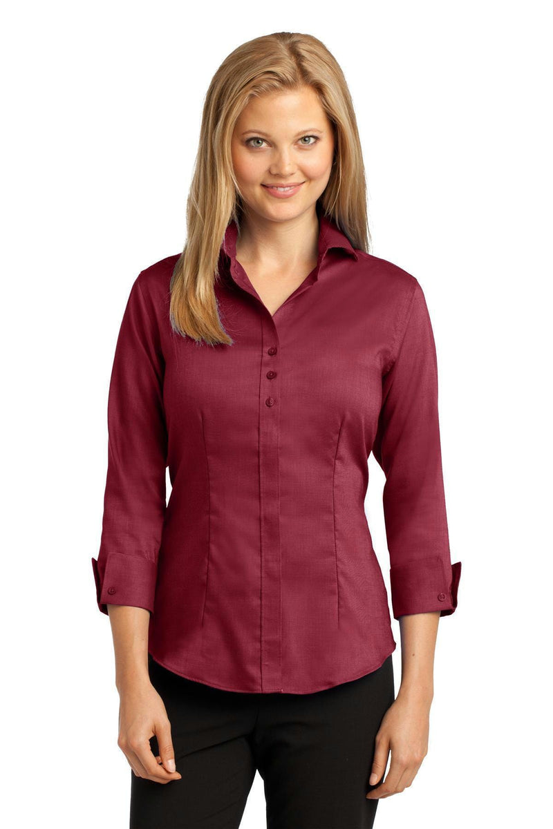 Red House Ladies 3/4-Sleeve Nailhead Non-Iron Shirt. RH69-Woven Shirts-Deep Red-4XL-JadeMoghul Inc.