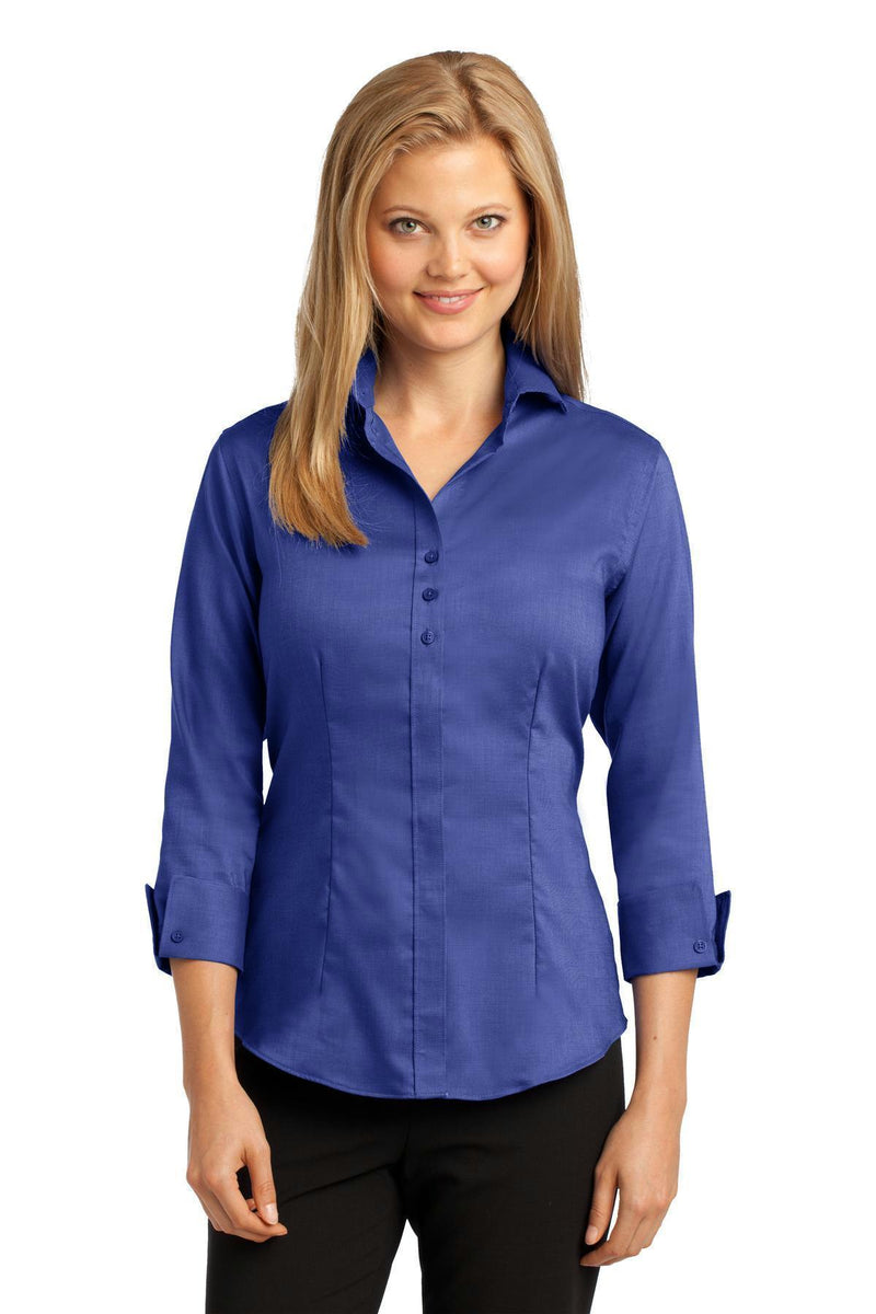Red House Ladies 3/4-Sleeve Nailhead Non-Iron Shirt. RH69-Woven Shirts-Mediterranean Blue-4XL-JadeMoghul Inc.
