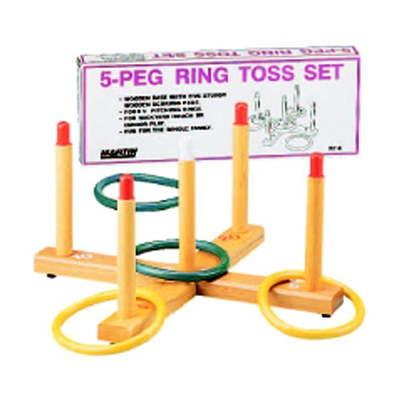 RING TOSS GAME 5-PEG BASE WOOD-Toys & Games-JadeMoghul Inc.