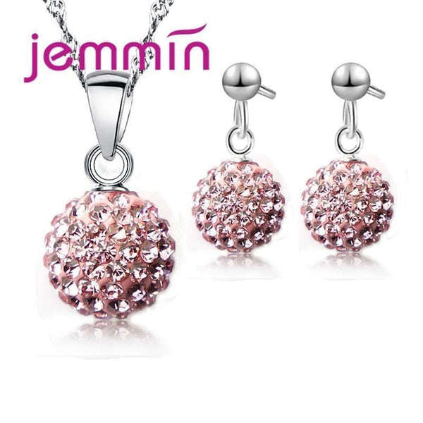 Romantic Crystal Ball 925 Sterling Silver Set-White-JadeMoghul Inc.