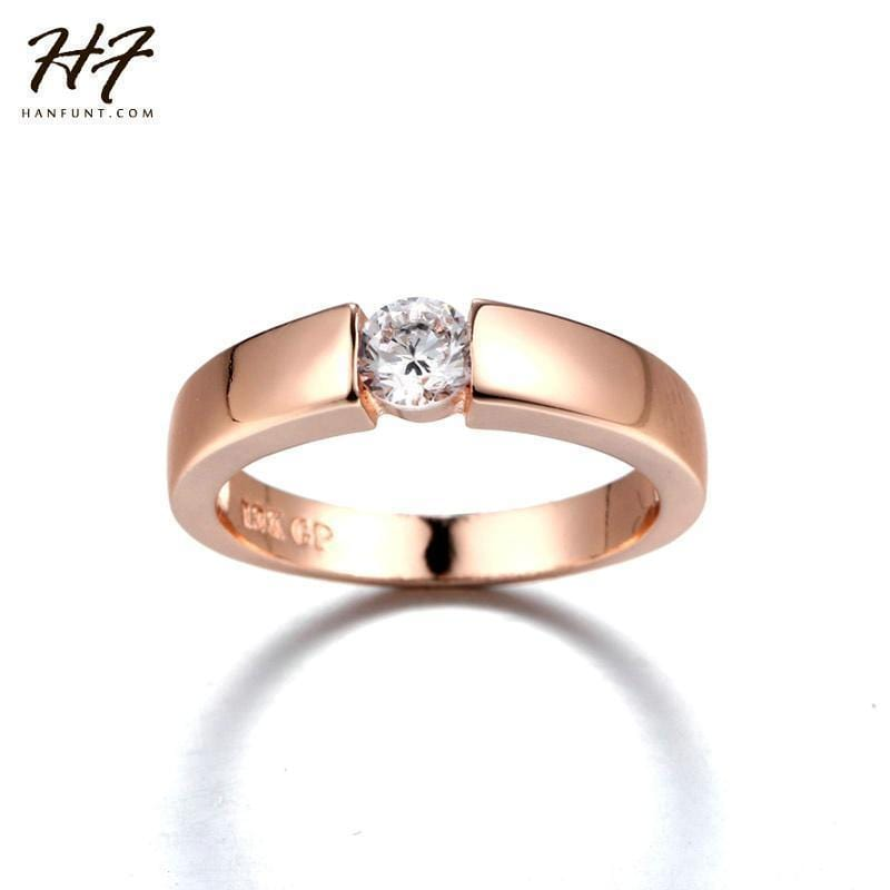 Rose Gold Color CZ Crystal High Polish Wedding Band Ring for Man and Woman R400 AExp