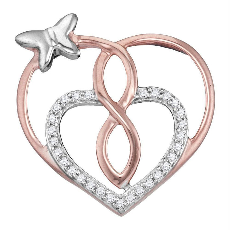 Rose-tone Sterling Silver Womens Round Diamond Heart Butterfly Pendant 1-10 Cttw-Gold & Diamond Pendants & Necklaces-JadeMoghul Inc.