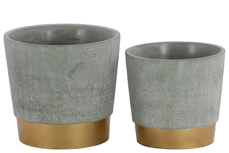 Round Cemented Flower Pot On Gold Banded Rim Base, Set of 2, Gray-Home Accent-Gray-Cement-JadeMoghul Inc.