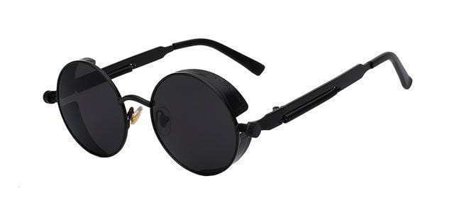 Round Metal Sunglasses / Fashion Designer Vintage Sunglasses-Matt Black w black-JadeMoghul Inc.