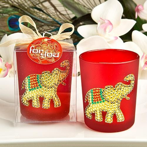 Ruby Red Good Luck Elephant Votive Candle Holder-Wedding Reception Decorations-JadeMoghul Inc.