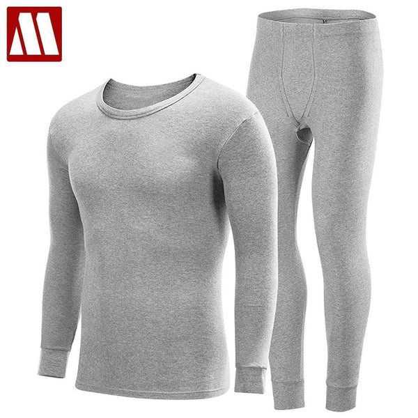 S-XXXXL Men Plus Size thermal underwear sets male winter bottoms plus thick warm round neck undershirts trousers man long johns-Dark Gray-S-JadeMoghul Inc.