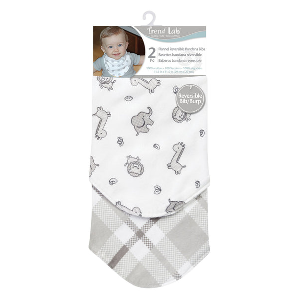 Safari Chevron 2 Pack Reversible Flannel Bandana Bib Set-WHIM-U-JadeMoghul Inc.