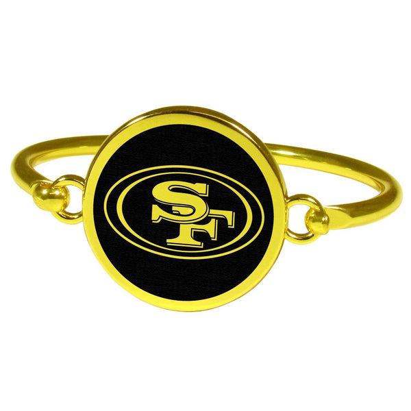 San Francisco 49ers Gold Tone Bangle Bracelet-NFL,San Francisco 49ers,Jewelry & Accessories-JadeMoghul Inc.