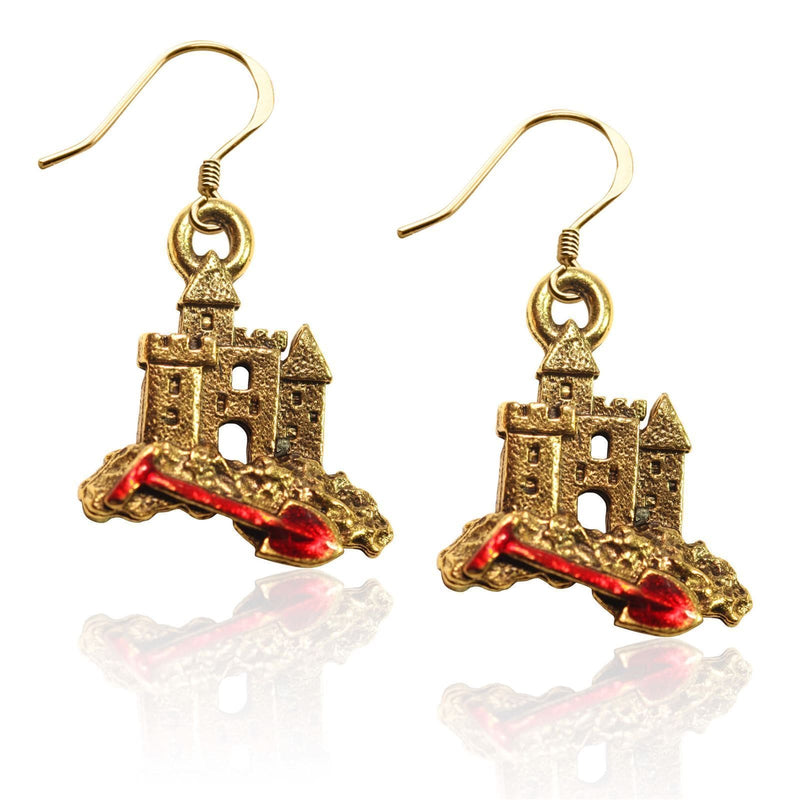 Sandcastle with Shovel Charm Earrings in Gold-Charm-JadeMoghul Inc.
