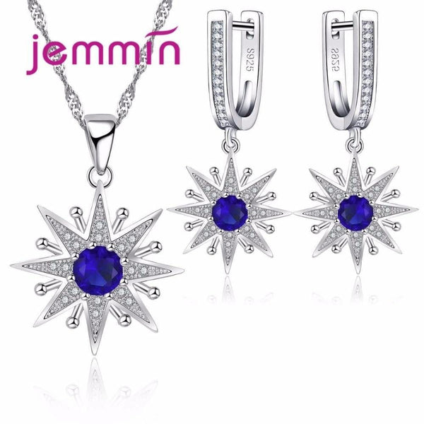 Sapphire Fine Sterling Silver 925 Statement Necklace Earrings Set--JadeMoghul Inc.