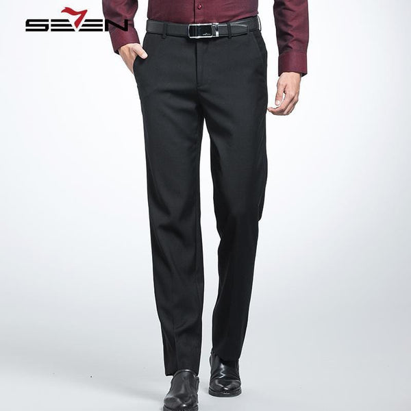 Seven7 Brand 2017 New Men's Suit Pants Comfort Formal Pants High Quality Business Trousers Men's Casual Business pant 111B70060-Black-34-JadeMoghul Inc.
