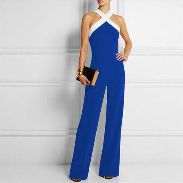 Sexy Halter Neck Off Shoulder Long Women Jumpsuits 2017 Spring Summer Sleeveless Club Party Rompers Casual Playsuits Overalls-Blue-S-JadeMoghul Inc.