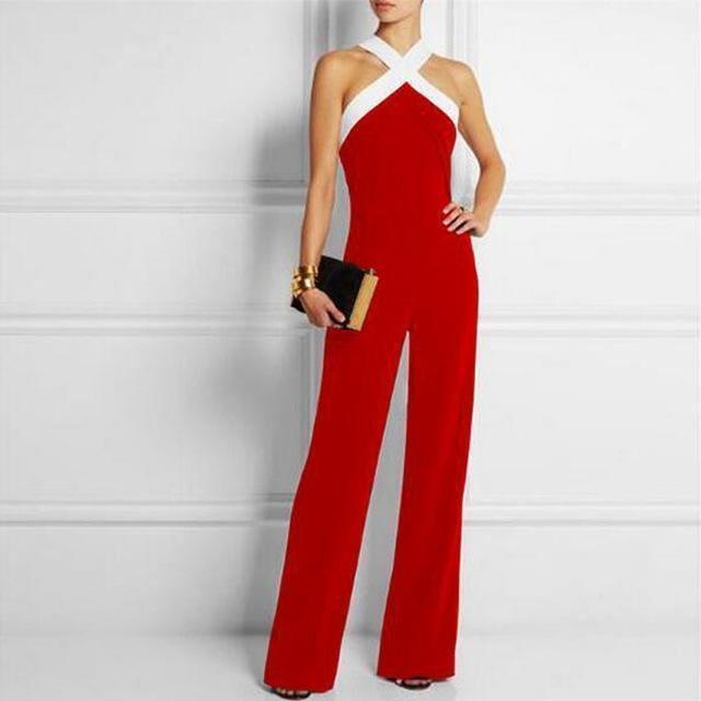 Sexy Halter Neck Off Shoulder Long Women Jumpsuits 2017 Spring Summer Sleeveless Club Party Rompers Casual Playsuits Overalls-Red-S-JadeMoghul Inc.