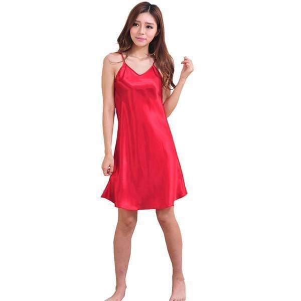 Sexy Night Dress Women Spaghetti Strap Silk Sleeveless Night Gown AExp