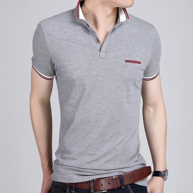 Short Sleeve Polo Shirt-6369 Grey-M-JadeMoghul Inc.