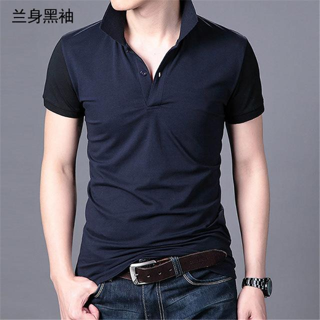 Short Sleeve Polo Shirt-Navy Black-M-JadeMoghul Inc.