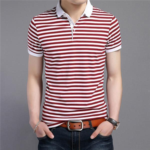 Short Sleeve Polo Shirt-Red Striped-M-JadeMoghul Inc.