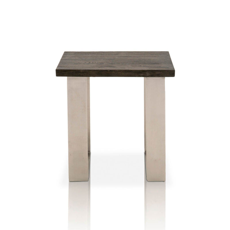 Side Tables and End Tables Square Shaped Oak Wood End Table Charcoal Oak Brown Benzara