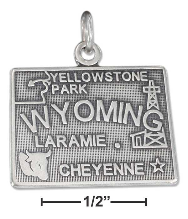 Silver Charms & Pendants Sterling Silver Antiqued Wyoming State Charm JadeMoghul Inc.