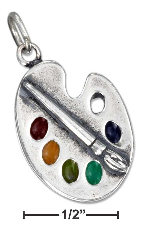 Silver Charms & Pendants Sterling Silver Enamel Artist Palette Charm With Paint And Brush JadeMoghul Inc.