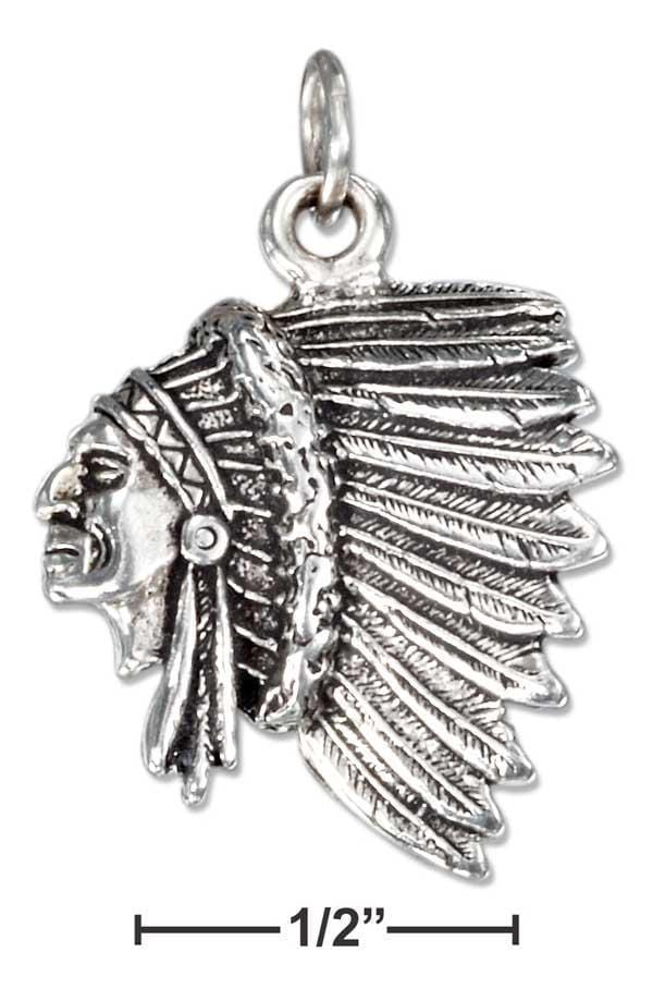 Silver Charms & Pendants Sterling Silver Side View Indian Chief Charm JadeMoghul Inc.