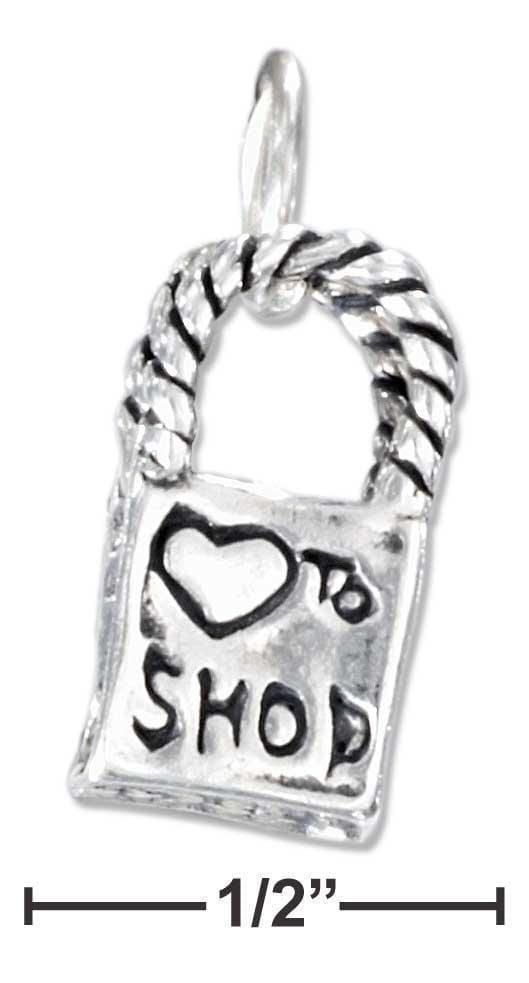 "Silver Charms & Pendants Sterling Silver Three Dimensional ""Heart To Shop"" Shopping Bag Charm JadeMoghul Inc."