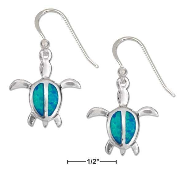 Silver Earrings Sterling Silver 16X17MM Synthetic Opal Turtle Earrings With French Wires JadeMoghul Inc.