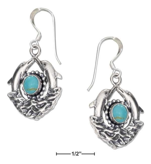 Silver Earrings Sterling Silver Double Dolphin Earrings With Simulated Turquoise On French Wires JadeMoghul Inc.